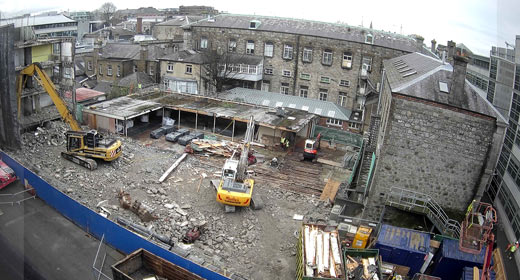 Commencement of demolition enabling works at Trinity College, Dublin